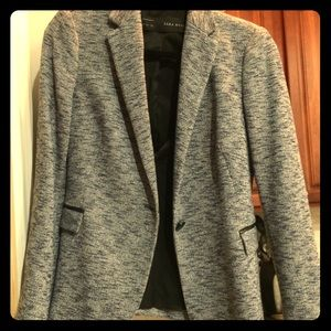 NEW Zara Soft Cotton Grey Work Blazer Size M